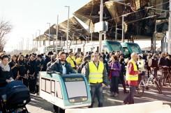 La multitud congregada en Glòries, lista para iniciar la marcha